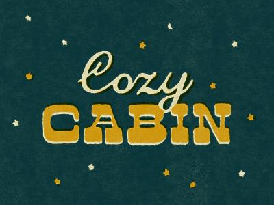 Cozy Cabin Lettering retro vintage script cursive woods country rural rustic type lettering custom