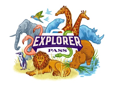 Explorer Pass — Denver ZOO logo scene penguin flamingo lion elephant giraffe hippo africa wild animals zoo