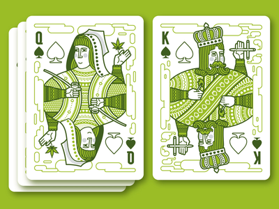 Aces High — Spades Cards joint bong pipe jack queen king illustration deck playing cards pot smoking high marijuana weed