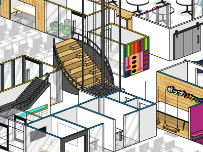 Popsockets HQ Map isometric illustration line rooms elevator animation office building architecture business motion