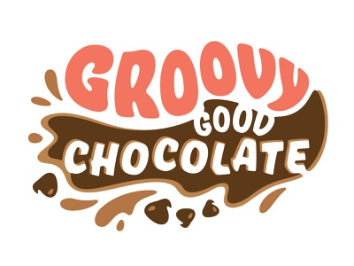 Groovy Chocolate Flavor Preview drips splatter groovy type letterting custom retro vintage hippie illustration chocolate