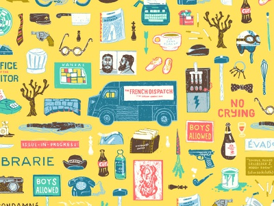 French Dispatch Pattern (version 01) the french dispatch plot script narrative story series collection film movie pattern illustration wes anderson
