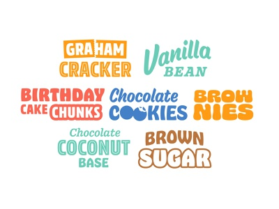 New Flavor Icons ice cream dessert food flavors custom lettering type typography packaging