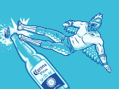 Corona Kick bottle beer rooster bird outfit uniform wrestler fighting kick stipple dot screen illustration wrestling mexican luchador pandemic covid-19 coronavirus