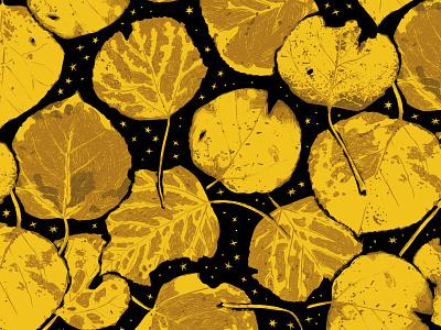 Aspen Leaves Pattern pattern tree forest nature autumn fall leaves illustration