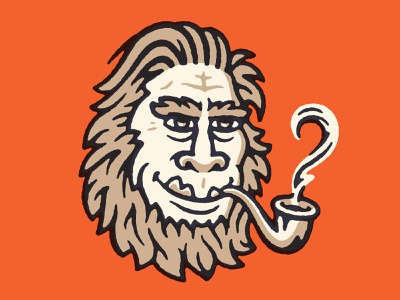 Dapper Bigfoot beard hairy man line illustration character face pipe hair sasquatch bigfoot