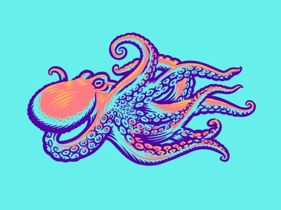Octopus Illustration creature animal wildlife illustration colorful preservation exploration tentacle octopus ocean water sea