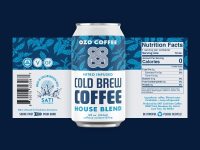 OZO Cold Brew Cans packaging mockup can cpg label design packaging cold brew coffee