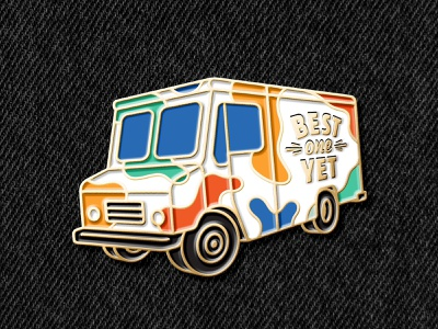 Best One Yet Enamel Pin promotion marketing perspective 3d car truck brand mockup enamel swag pin ice cream truck ice cream