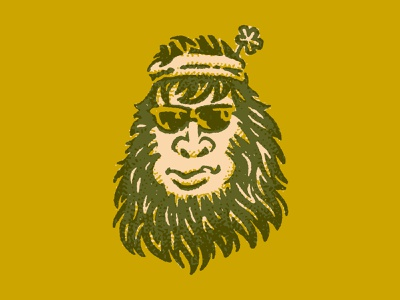 Groovy Bigfoot character portrait illustration face man hairy outdoors mountain forest bigfoot sasquatch