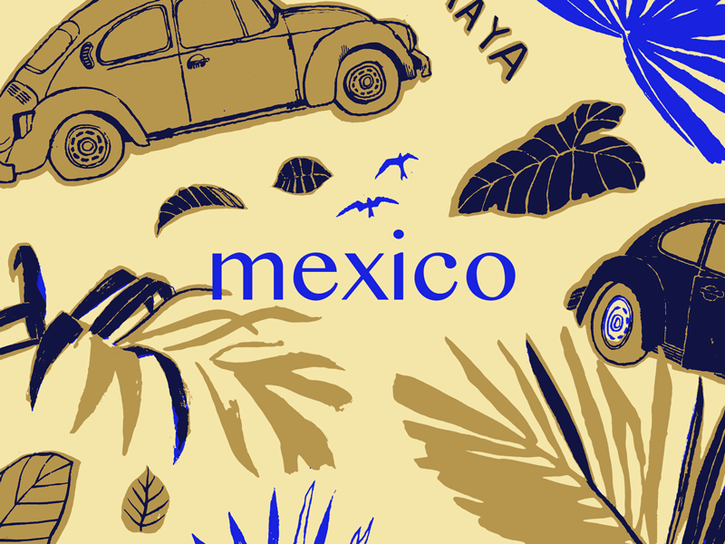 Mexico Pattern latin spanish sketch blue jungle leaves natural simple mexican mexico pattern illustration