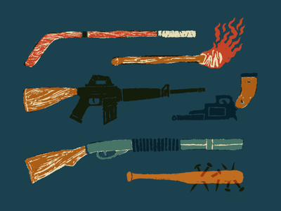 Ouch Time drawn collection guns detailed drawing texture grain wood weapon