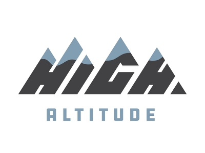 High Altitude letters exploration elevation triangular pointy peaks mountain