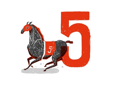 Derby Horse [5] collage numeral drawing illustration track horse race