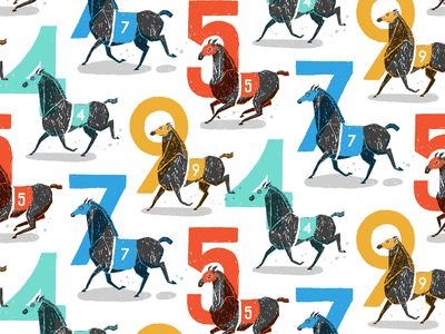 Race Horse Pattern track racing race horses horse numerals numbers kentucky derby