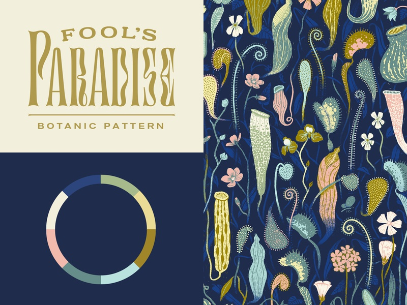 Fools Paradise Pattern botanic mysterious deep moody colorway palette wheel color organic jungle plant pattern lock up lettering type
