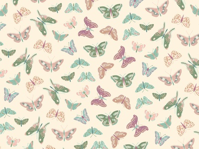 Butterfly Pattern 02 illustration natural cream tan repeat pattern butterfly bugs insect nature