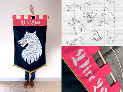 Dire Wolf Flag midievel castle blackletter type monster wolf mythical creature mythical banner flag sigil game of thrones design product illustration project hand sewn