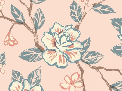 Painted Flowers Pattern branches leaves tree blossom bloom spring vintage pattern floral painted flowers millenial pink blush