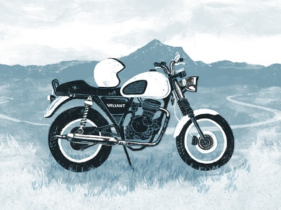 Valiant Motorbike Illustration motorbike bike texture rough ink watercolor illustration drawing tour adventure trip dirtbike motorcycle