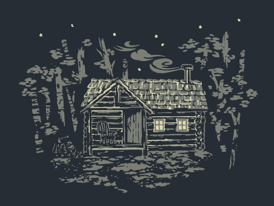 Rustic Cabin illustration forest smoke chimney cozy home house simple living mountain remote abandoned rustic hideaway cabin off the grid woods