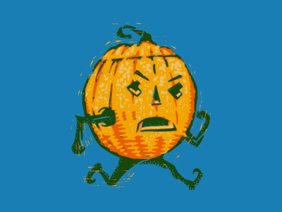 Running Pumpkin Man trick or treat pumpkins holiday halloween texture illustration