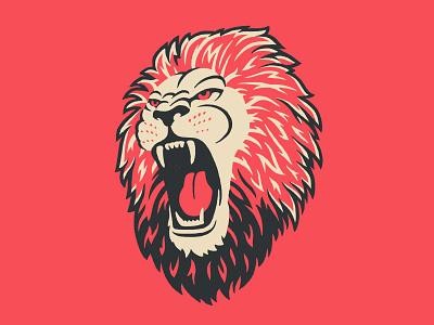 Lion Head Illustration logo illustration safari wild fierce angry mouth roaring teeth hair mane africa lion