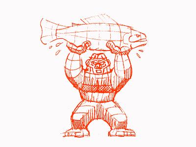 Bigfoot Holding Fish [rough] animals fish gorilla illustration drawing rough sketch rough bigfoot yeti