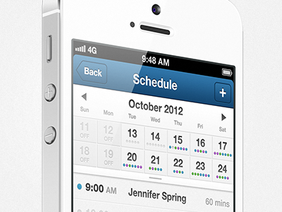 Scheduling App iphone ios ui app mobile interface calendar schedule