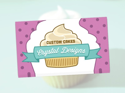 Custom Cakes by Crystal Designs Business Cards custom cakes cupcake ribbon bakery pink blue cubano wisdom script