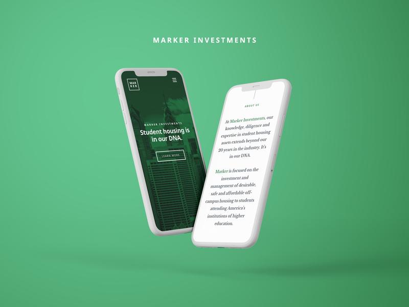 Marker Investments Responsive Website philly philadelphia real estate agency real estate green mobile branding and identity responsive website