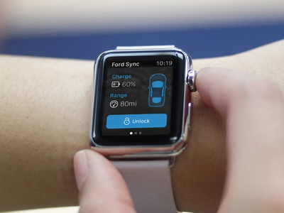 Ford Sync: Apple Watch Remote app apple iwatch concept commute psd black watch connected wearable car ford
