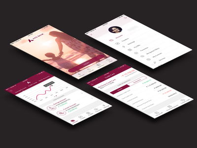 Axis Bank: iOS Redesign prototype after effects animation pink graph ux video apple ios financial axis bank