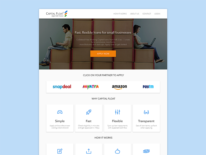 Capital Float: Material Design Concept corporate landing attached psd clean concept redesign website design material