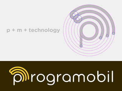 Programobil Logo shape mobile letter identity logo process brand type fun technology m p