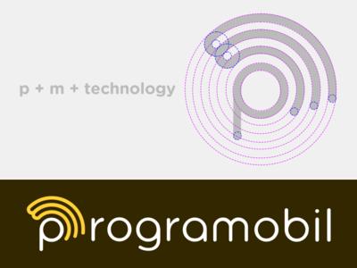 Programobil Logo shape mobile letter identity logo process brand type fun technology m p