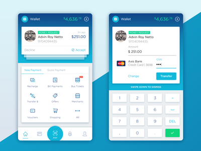 Wallet Concept Rebound wallet transfer payment pay money mobile india finance card android