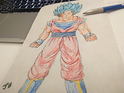 Goku Blue  manga color pencils crayons illustration pencil sketch ball dragon art sketch goku