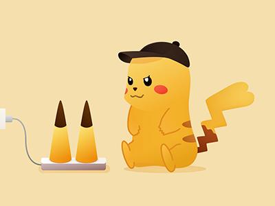 ピカチュウ 皮卡丘 Pikachu pikachu pokemon sketch illustration