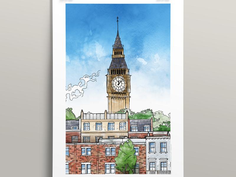 London (40x60cm) illustration poster london