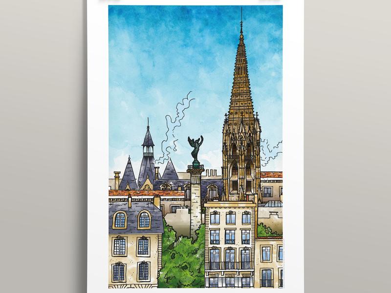 Bordeaux (40x60cm) france poster illustration