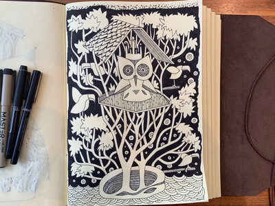 Jungle birds treehouse jungle birds inkdrawing penandink sketch