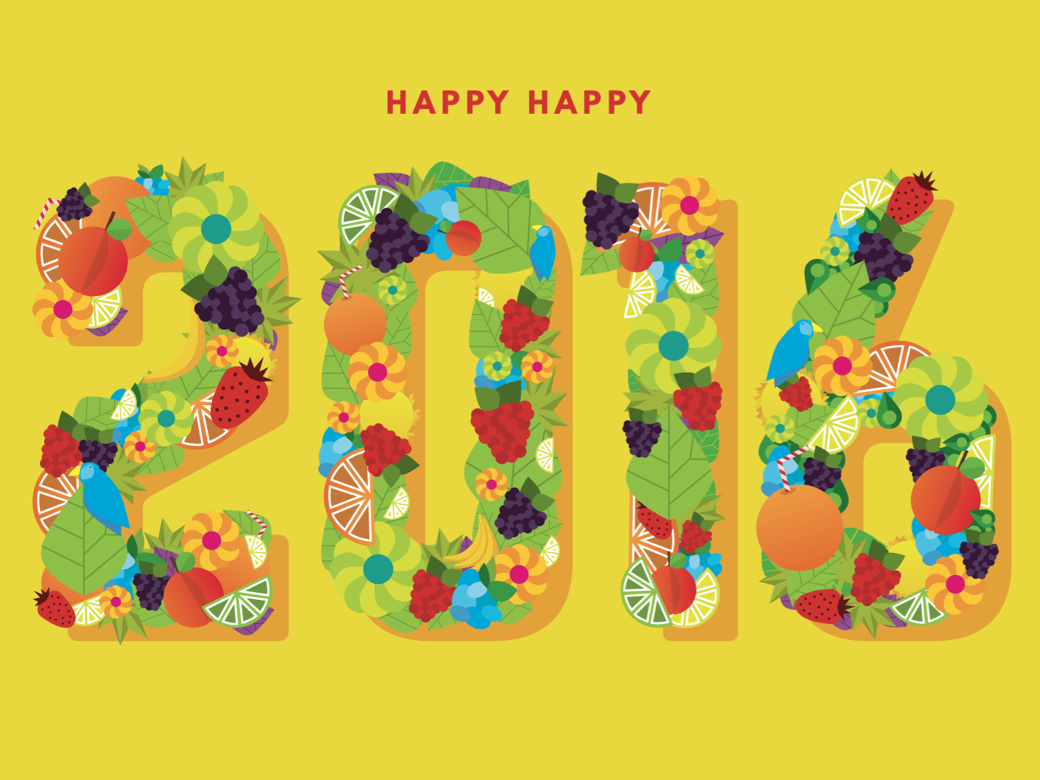 2016 Holiday Card fruit numerals