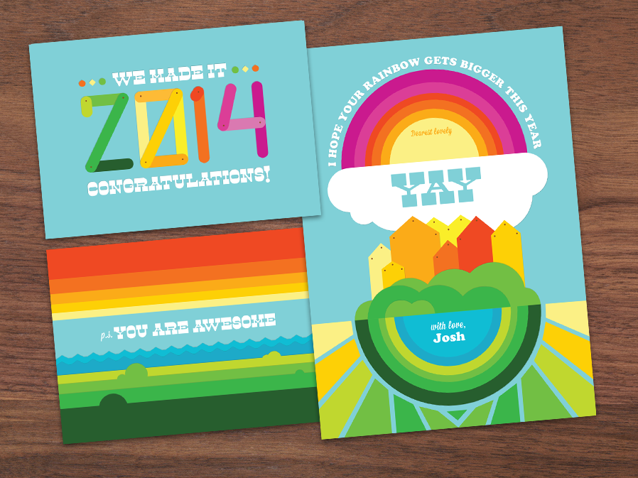 New Year Card rainbows new year card card art