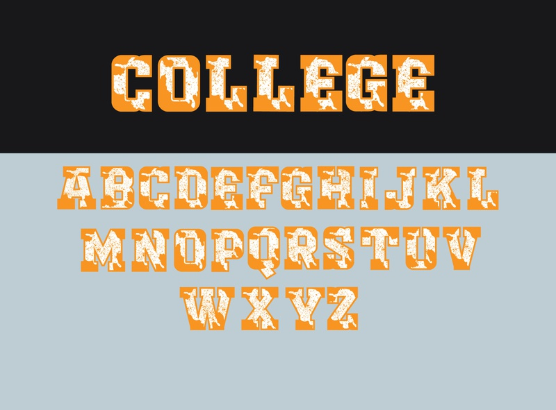 college font vector