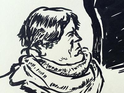 Drawing people during on the train brushpen sketchbook illustratie tekenen donorbrain draw treinreizigers trainlife passengers travel train portrait portraits