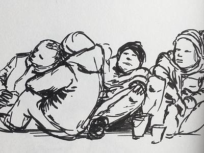 Drawing of homeless people. peopledrawing sketchbook düsseldorf homeless drawnfromlife drawing