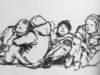 Drawing of homeless people.