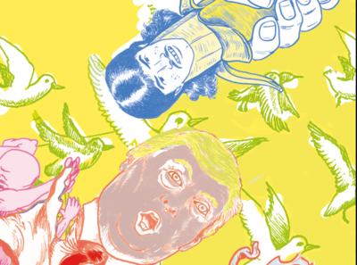 Sneak peak - Work in Progress birds weirdart utrechtbased coloring weird bananaman banana trump utrecht illustratie drawing donorbrain illustration