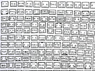faceless sounds jacco de jager drawings tapes tape cassette hyroglifics robotfaces artist art illustration drawing donorbrain cassette tape cassettes